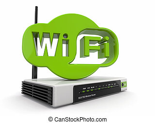 Wireless Router and sign of wifi. 3d