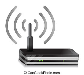 Wireless Router illustration wi-fi connection design over a...