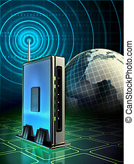 Stylish wireless router with radio waves originating from its antenna. Digital illustration