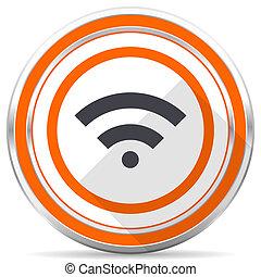 Wireless silver metallic chrome round web icon on white background with shadow