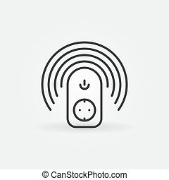 Wireless smart socket vector outline concept icon