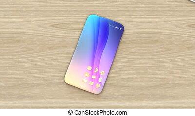 Wireless smartphone charging concept. 3D rendering...