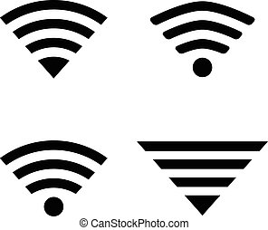 Wireless symbols - Set of four wireless technology symbols. ...