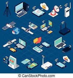 Wireless technologies isometric icons