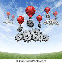 Wireless technology business concept and building an internet mobile cloud computing network with red hot air balloons with gears and cogs creating data server clouds on a blue summer sky and green grass.