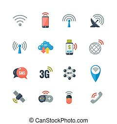 Wireless Technology Flat Icons Set