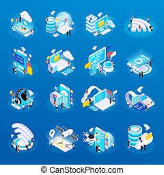 Wireless Technology Isometric Icons