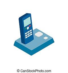 Wireless telephone icon, isometric 3d style