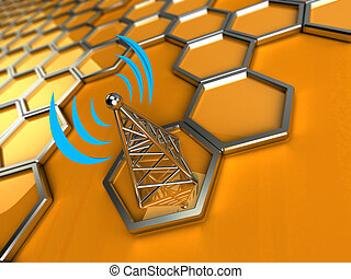 wireless tower against a 3d background - 3d background is...