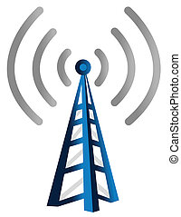 Blue wireless technology tower background with rays of light