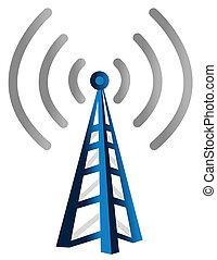 Wireless Tower - Blue wireless technology tower background...