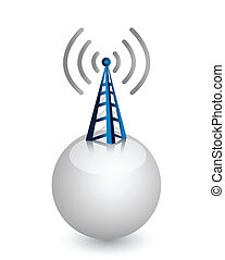 wireless tower with radio waves on a white sphere