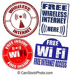 Wireless Wi-Fi internet stamps - Set of wireless Wi-Fi...