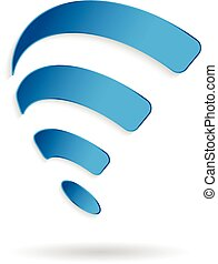 Wireless wifi swoosh symbol. Vector graphic