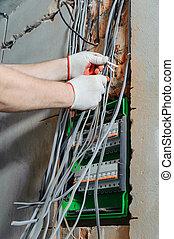 wires., électricien, électrique, installation