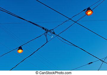 wires, электрический, просто, было, луна, освещенный, lights, улица, через, полумесяц, иметь, новый, посмотреть