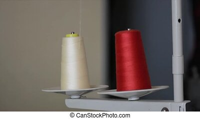 wires - red and white sewing thread