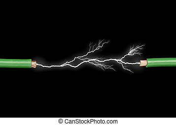Two wires with electrical arc powering through.