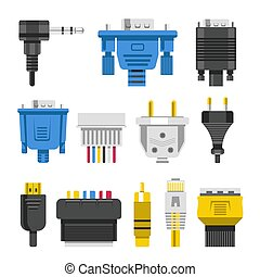 Wiring connectors and cables audio or video adapters or plug...