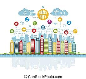 wirklichkeit, dienstleistungen, klug, augmented, sachen, heiligenbilder, fortgeschritten, internet, sozial, netze, intelligent, stadt
