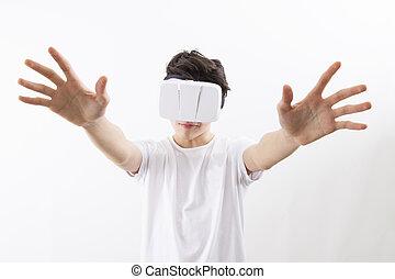 wirklichkeit, junger, virtuelle gläser