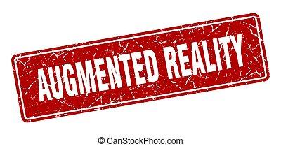 wirklichkeit, label., augmented, weinlese, zeichen, rotes , ...