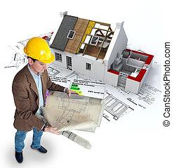 wirksam, daheim, energie, architekt