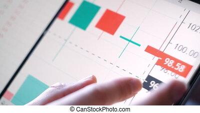 wirtschaft, gebrauchend, analyse, display., daten, tabelle, ...