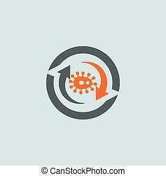 wirus, gray-orange, okrągły, ikona