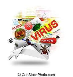 wirus, internet, biały, email