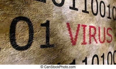 wirus, tekst, na, grunge, pojęcie