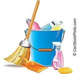 wischeimer, reinigungsmittel