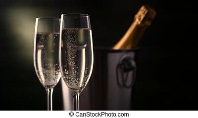 wischeimer, zwei, eis, hintergrund., champagner., flasche, champagner- flöten