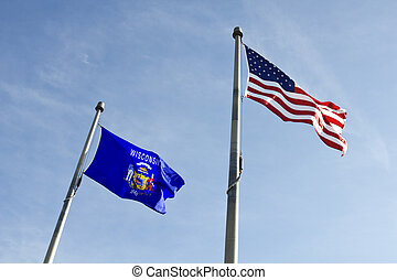Wisconsin and USA flags