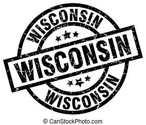 Wisconsin black round grunge stamp
