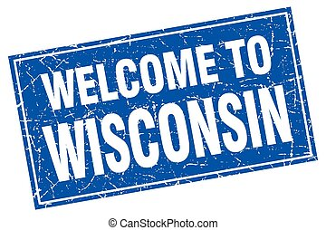 Wisconsin blue square grunge welcome to stamp