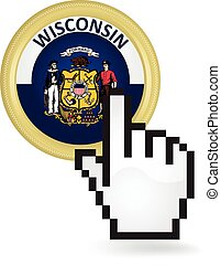 Wisconsin Button Click - Hand cursor clicking on the state...