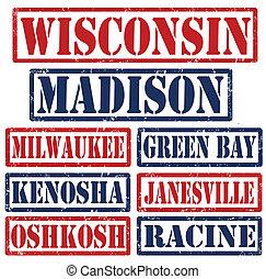 Wisconsin Cities stamps