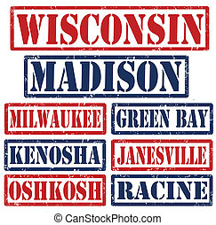 Wisconsin Cities stamps - Set of Wisconsin cities stamps on ...