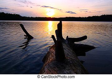 wisconsin, coucher soleil, nord