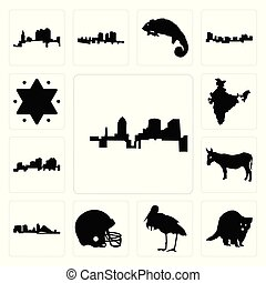 wisconsin, ensemble, étoile, contour, icônes, âne, football, david, inde, fond, de, raton laveur, blanc, louisiane, casque, cigogne