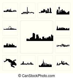 wisconsin, ensemble, corps, minneapolis, horizon dallas, icônes, scène, kansas, horizon, fond, ville, denver, nyc, blanc, crime, chicago