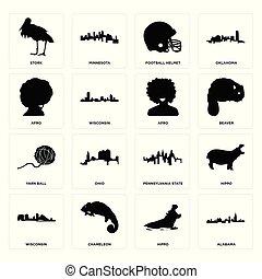 wisconsin, ensemble, hippopotame, afro, pennsylvanie, football, fil, état, cigogne, alabama, icônes, balle, casque