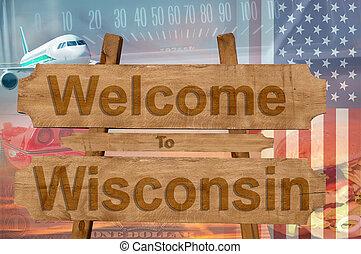 wisconsin, estados unidos de américa, bienvenida, madera, ...