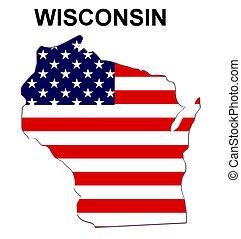 wisconsin, estados unidos de américa, rayas, estado, diseño,...