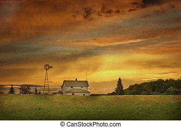 Wisconsin Family Farm - A landscape of a Dairy farm in...