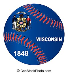 Wisconsin Flag Baseball - A new white baseball with red...