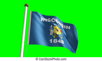 Wisconsin flag (with green screen)