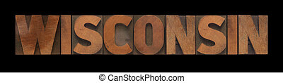Wisconsin in old wood type