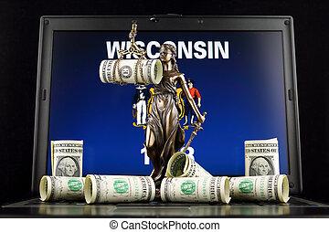 wisconsin, justice, symbole, prise vue., dollar, état, une, billets banque, drapeau, laptop., studio, droit & loi